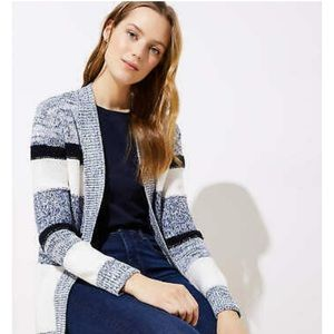 LOFT Navy Marled Stripe Ribbed Trim Open Cardigan